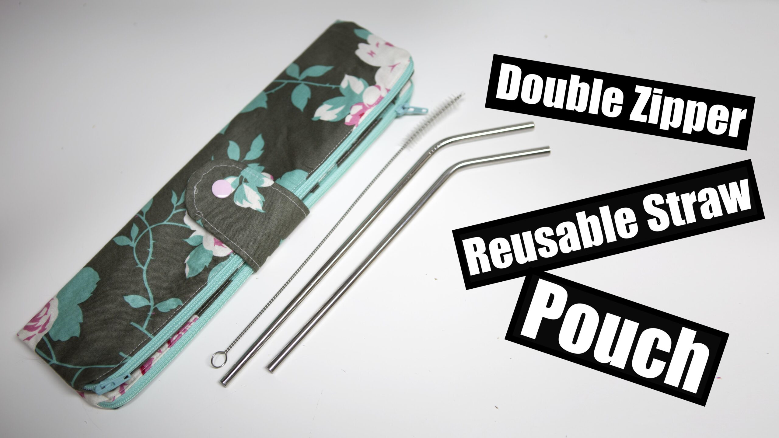 Double zipper Straw Pouch